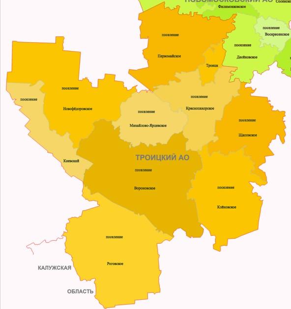 Границы районов москвы