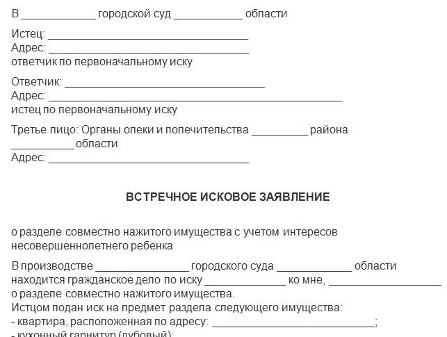 Встречный Иск Гпк РФ образец